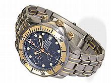 rare diver's chronograph by Omega, automatic chronometer Seamaster Professional, titanium/gold