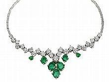 necklace with emeralds and diamonds, 3.13 ct