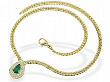 fine necklace with Emeralds and diamonds 2.6 carats