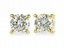 diamond solitaire earrings, 0.75 ct