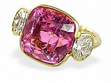 tourmaline and diamond ring, tourmaline 10ct