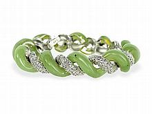 bracelet with diamonds and jade