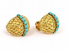 Art Deco earrings with turquoise