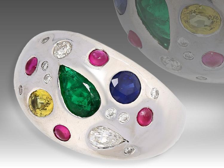 Ring: massiver Cocktail-Ring mit hochwertigen Edelsteinen und Diamanten, Unikat