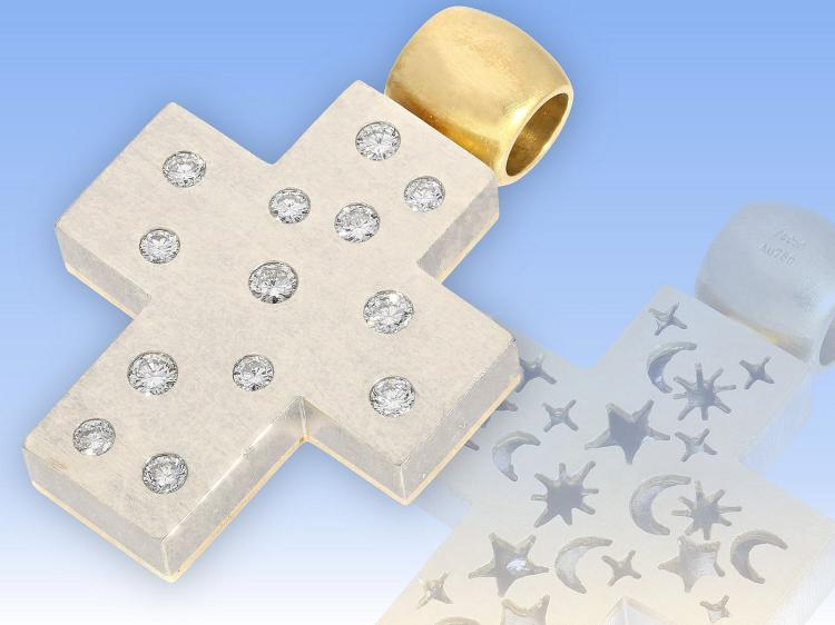 High quality gold and platinum diamond cross pendant