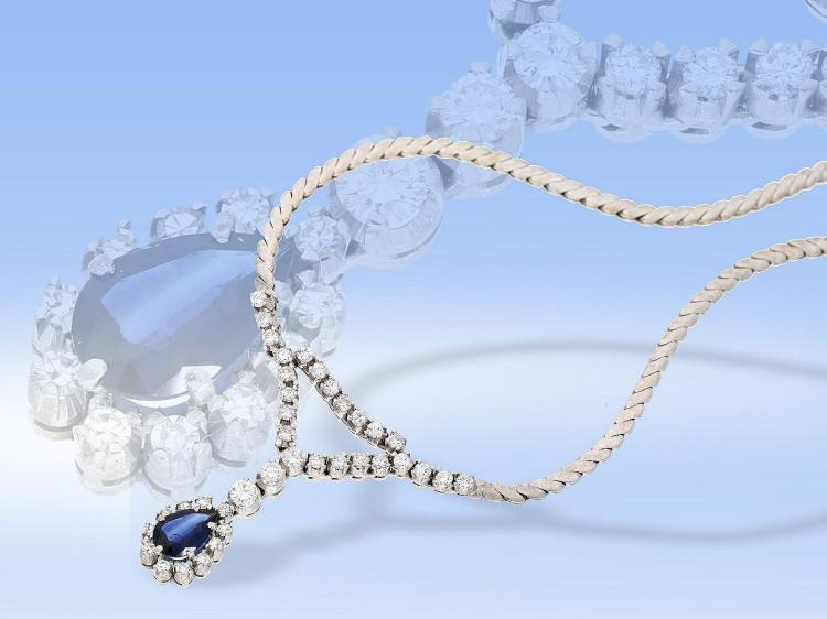 High quality diamond and sapphire necklace