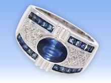 High-quality sapphire and diamond ring