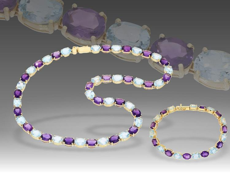 Necklace and bracelet with coloured stones