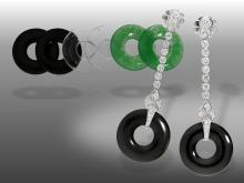 Unusual vintage diamond earrings with jade/onyx/rockcrystal rings, fantastic quality