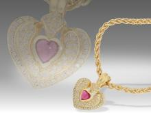 Modern tourmaline and diamond heart pendant and chain