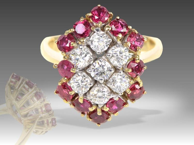 High-quality diamond and ruby ring, 3ct