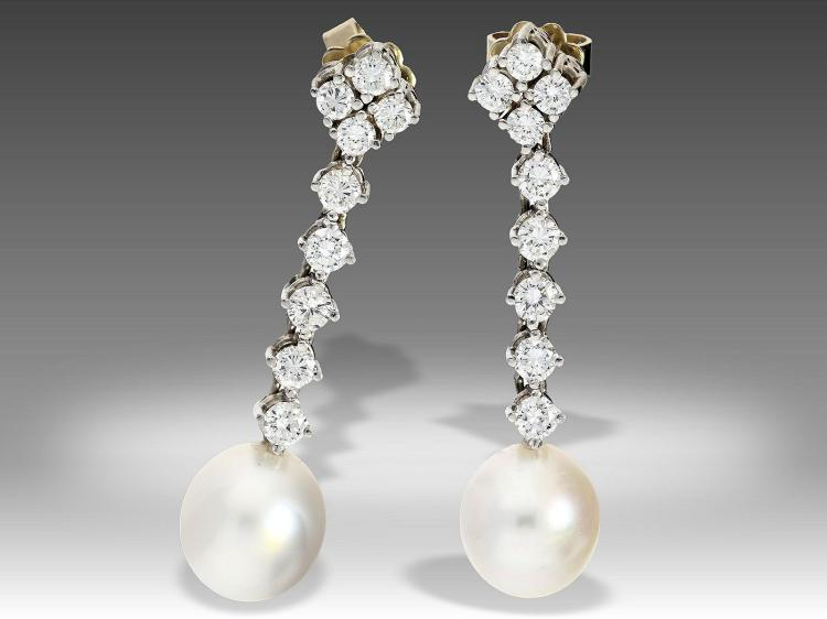 High-quality pearl and diamond earrings