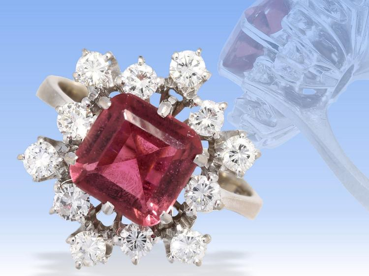 High quality diamond and red tourmaline ring