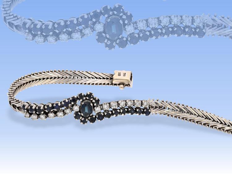 Vintage diamond and sapphire bracelet