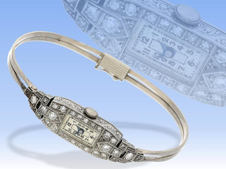 Art déco platinum diamond wristwatch