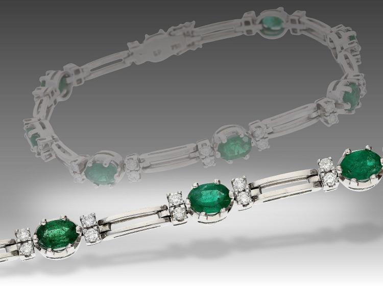 Very nice diamond and emerald bracelet, vintage