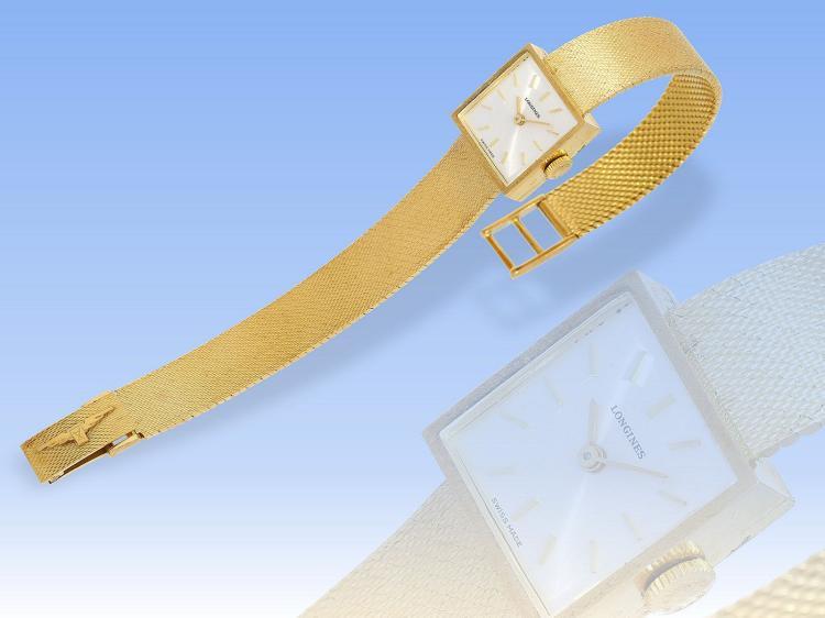 Armbanduhr: sehr hochwertige, goldene vintage Damenuhr der Marke Longines, new-old-stock, ungetragen
