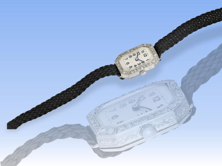 Wristwatch: platinum art deco wristwatch