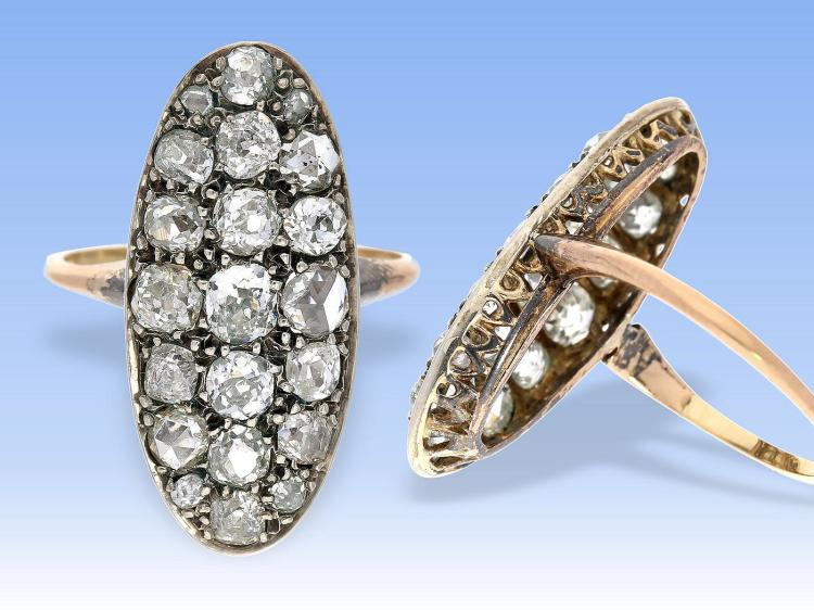 Ring: antiker, seltener Diamantring, um 1900, ca. 2ct
