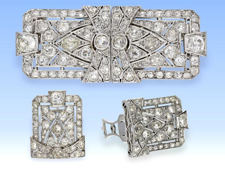 High quality art déco diamond platinum double-clip brooch, approximately 3.5ct