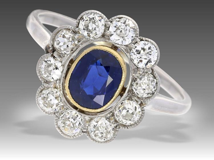 Antique diamond and sapphire ring