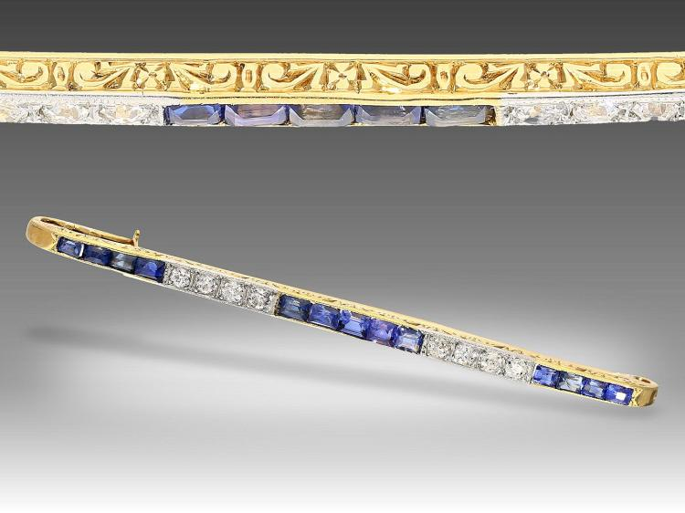 Art déco diamond and sapphire pin