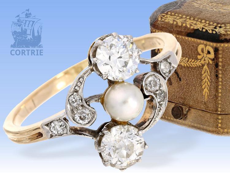Art nouveau diamond ring with original box