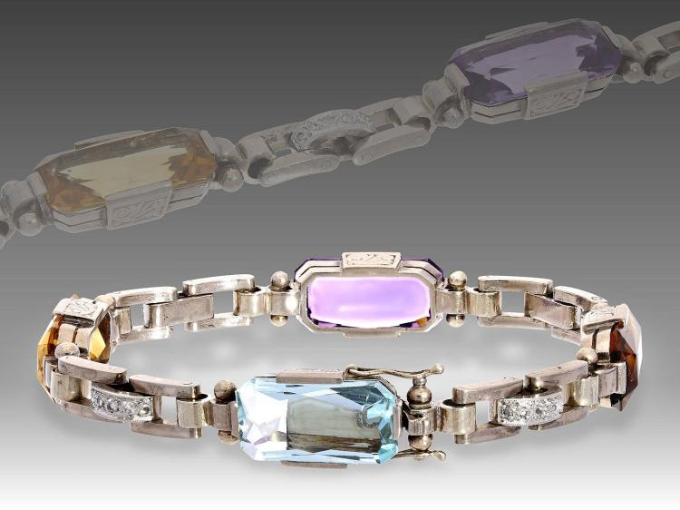 Art déco bracelet with coloured stones and diamonds