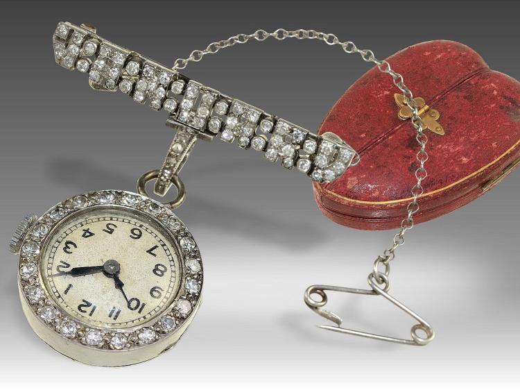 Very rare antique platinum diamond pendant watch with original box, signed Elliott London