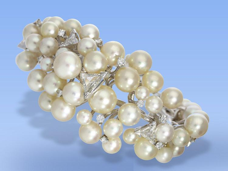Unique pearl and diamond bangle