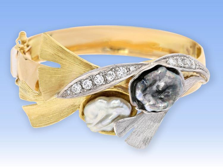 Unique and unusual diamond and pearl bangle