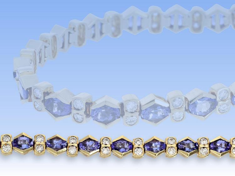 Bracelet with diamonds and tanzanites