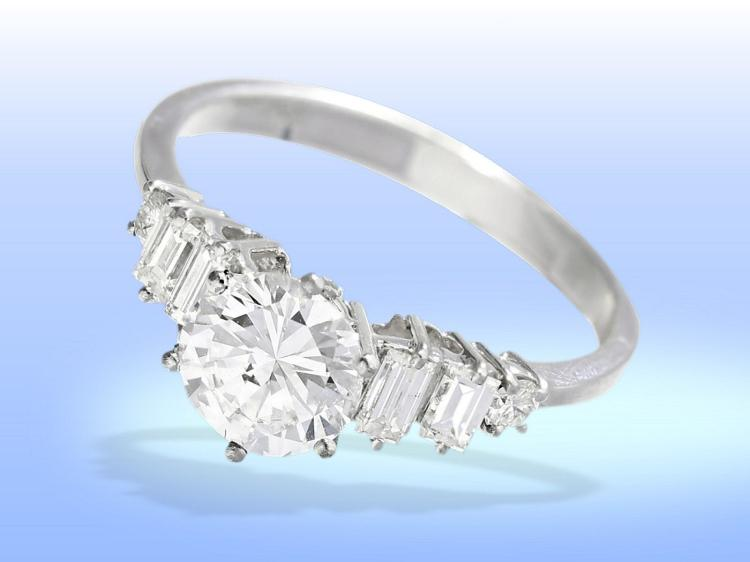 High-quality diamond ring, 1.47ct river lupeclean to VVS