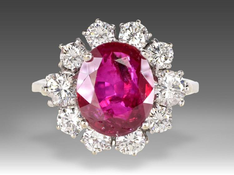 Diamond and ruby ring, 3ct/1.45ct, burma ruby