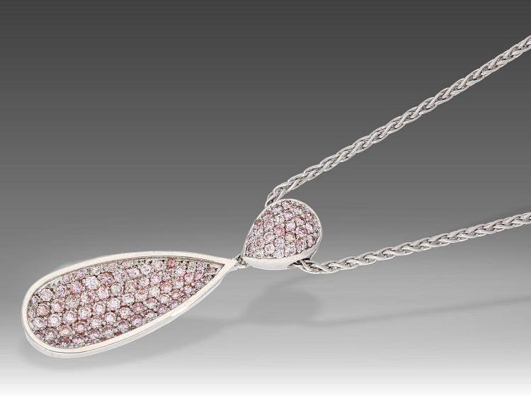 Modern pendant with pink diamonds