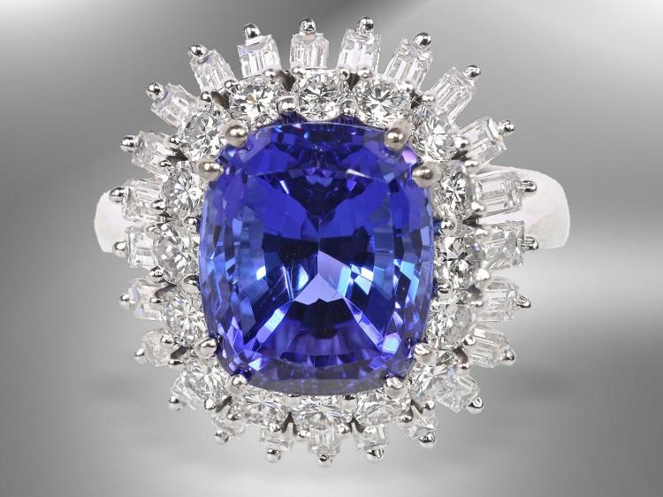 Diamond and tansanite ring, 9.5ct