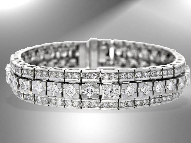 High quality vintage diamond bracelet, approximately 6.5 carat