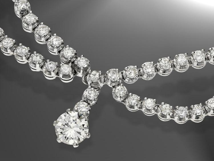 Very expensive diamond necklace, centre stone approximately 1.5 carat