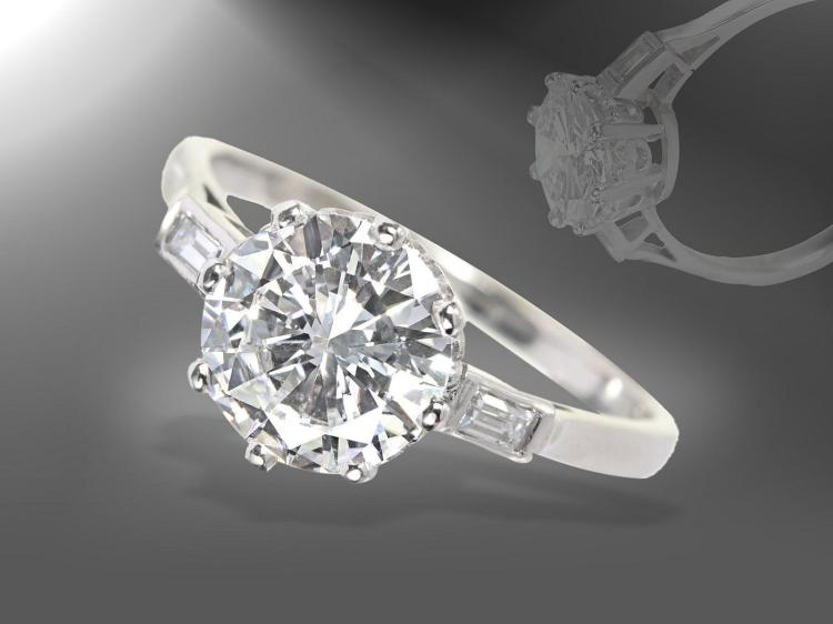 Extremely fine diamond solitaire ring, 1.51ct river/vvs, platinum