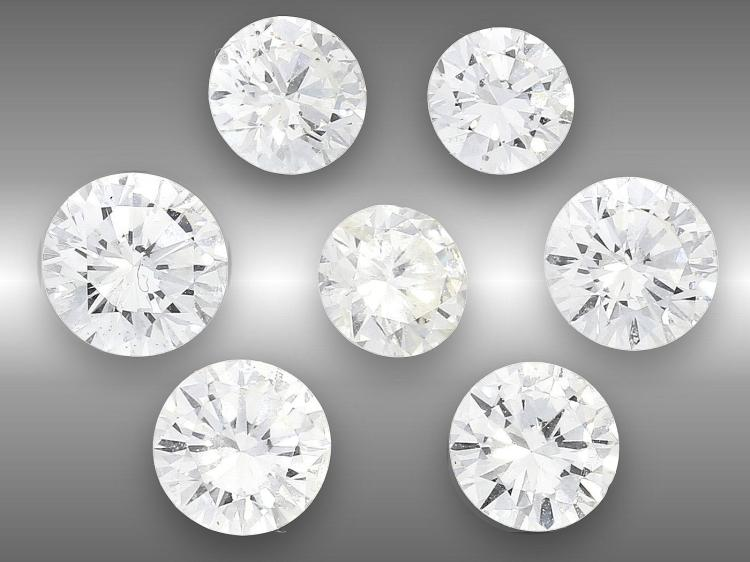 Seven loose diamonds of nice quality, approximately 2ct