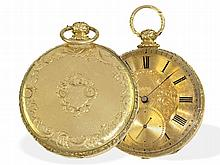 Pocket watch: Decorative 18 K verge watch by Tobias, London ca. 1850