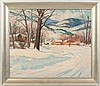Clifford M. Ulp (Rochester NY, 1885-1958)  Village in Winter, Clifford McCormick Ulp, Click for value
