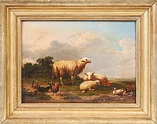 Attr. to Franz Van Severdonck (Belgium, 1809-1889) Sheep, roosters & ducks