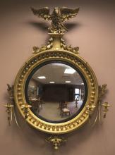 Carved and Gilt Wood Girandole Mirror