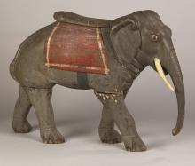 Carved and Painted Elephant Carousel Figure