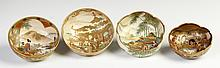 Four Satsuma Hand Painted & Gilded Bowls