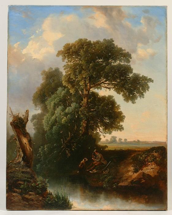 Sgn. Gignoux 1862, (Regis Francois Gignoux (Fr./Am 1816-1882), landscape with hunter and dog, o/c, relined, some restoration, unframed, good cond., 27