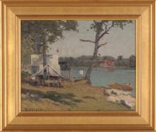 """George Herdle (American, 1868-1922) """"Camp by the Lake"""""""