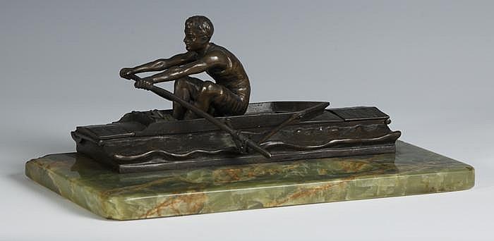Andor Ruff (Hungarian, 1885) Bronze Rower  &  Onyx Desk Stand w/2 Inkwells