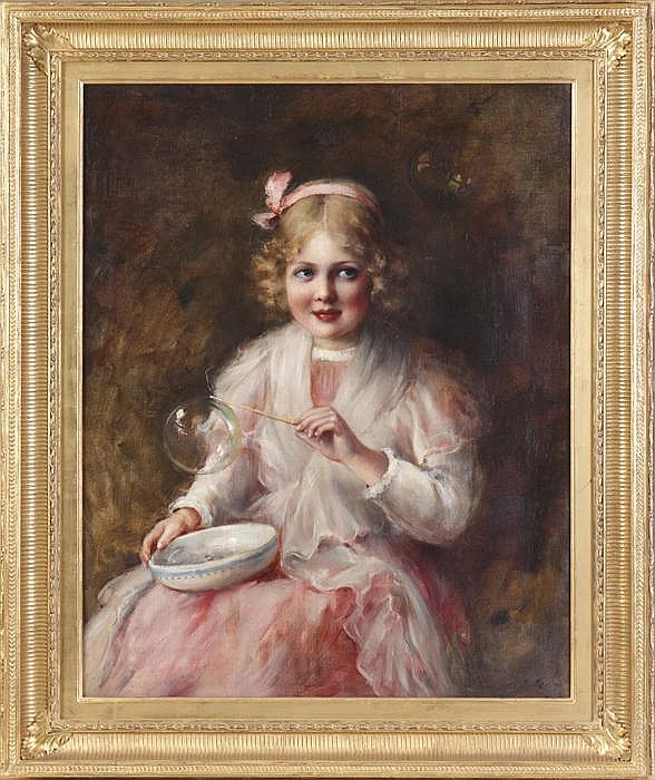 Carle John Blenner (American, 1862-1952) Young girl blowing bubbles